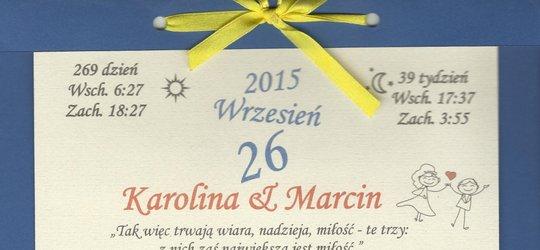 Zaproszenie na ślub Karoliny i Marcina