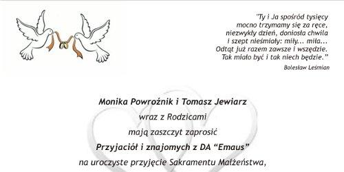 Zaproszenie na ślub Moniki Powroźnik i Tomka Jewiarza