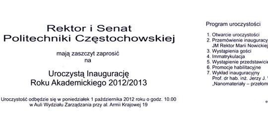 Inauguracja Roku Akademickiego na Politechnice Częstochowskiej