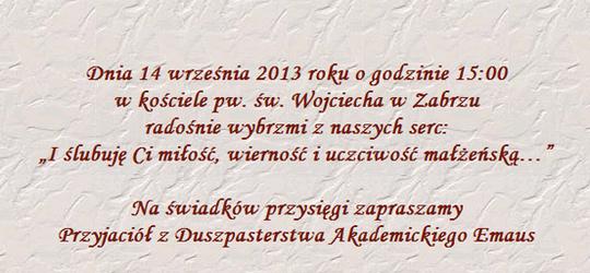 Agata Pańczyk i Dominik Jasiński zapraszają na ślub