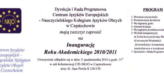 Zaproszenie na Inaugurację Roku Akademickiego NKJO
