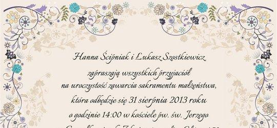Zaproszenie na ślub Hani i Łukasza