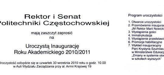 Zaproszenie na Inaugurację Roku Akademickiego Politechniki Częstochowskiej