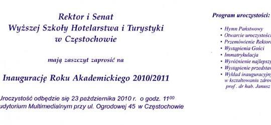 Zaproszenie na Inaugurację Roku Akademickiego Wyższej Szkoły Hotelarstwa i Turystyki