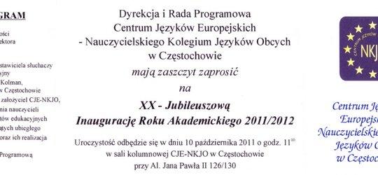 Inauguracja roku akademickiego w CJE-NKJO